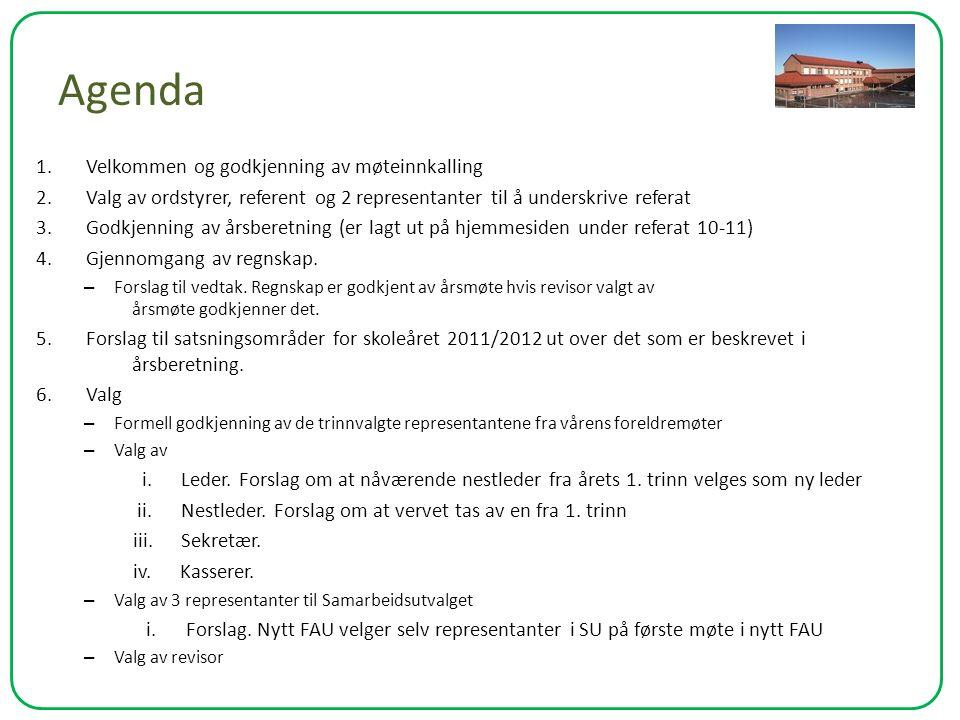 Agenda 1. Velkommen og godkjenning av møteinnkalling