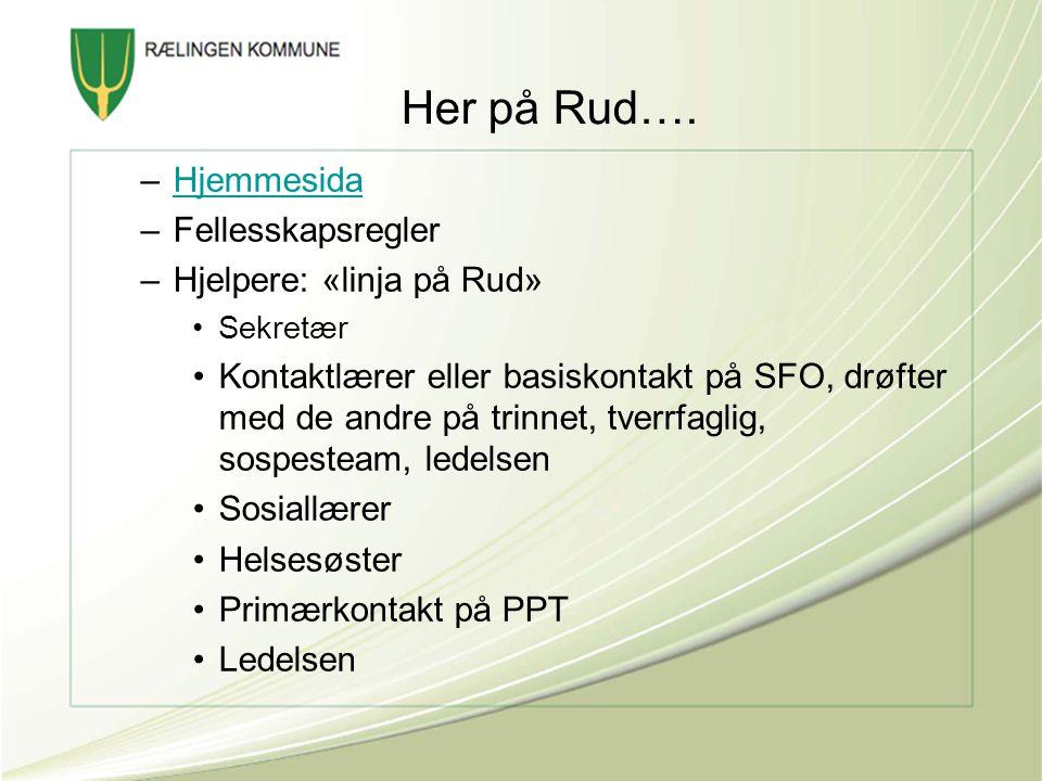 Her på Rud…. Hjemmesida Fellesskapsregler Hjelpere: «linja på Rud»
