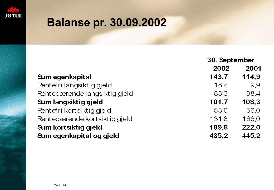 Balanse pr. 30.09.2002 PAGE 14 -