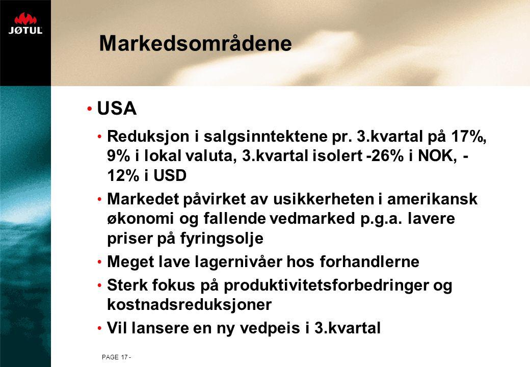 Markedsområdene USA. Reduksjon i salgsinntektene pr. 3.kvartal på 17%, 9% i lokal valuta, 3.kvartal isolert -26% i NOK, -12% i USD.