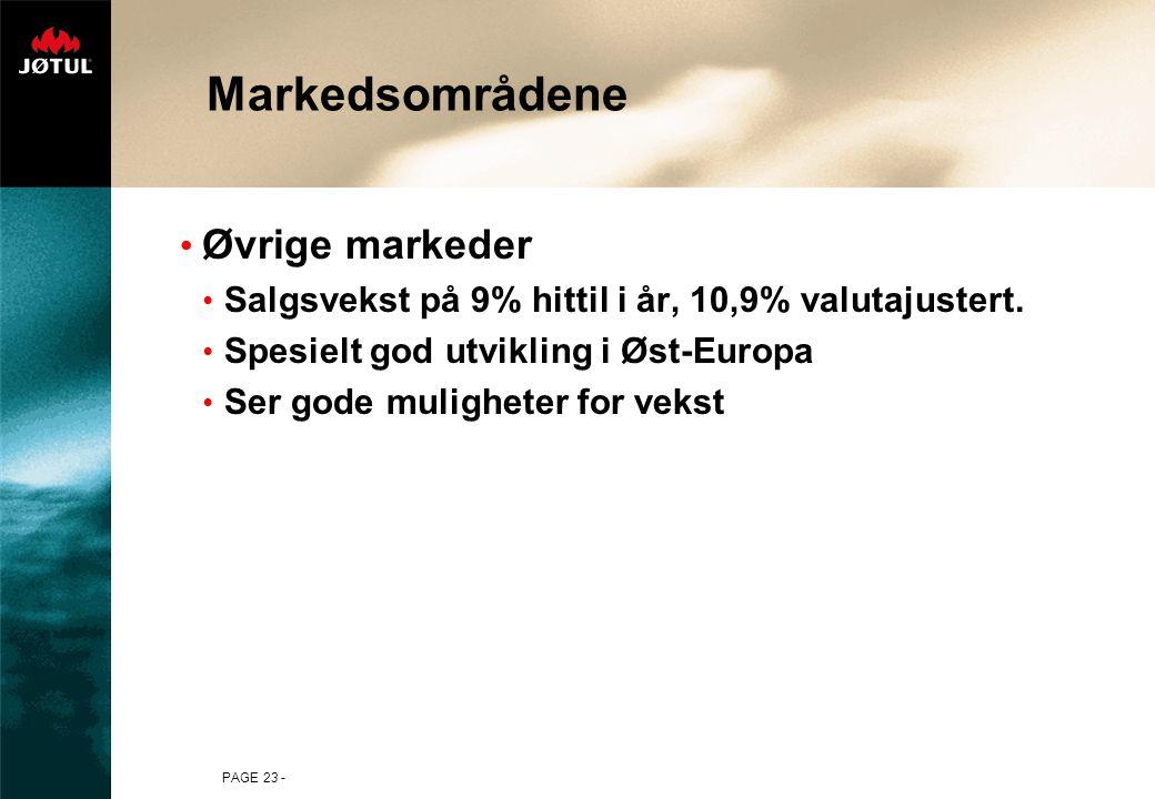 Markedsområdene Øvrige markeder