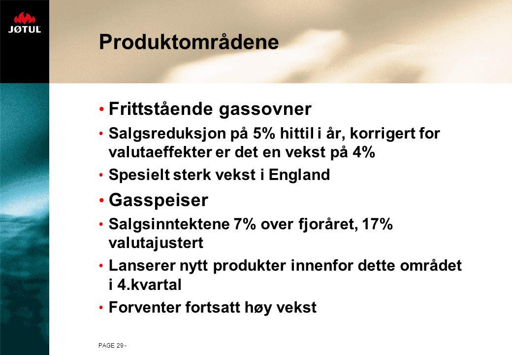 Produktområdene Frittstående gassovner Gasspeiser