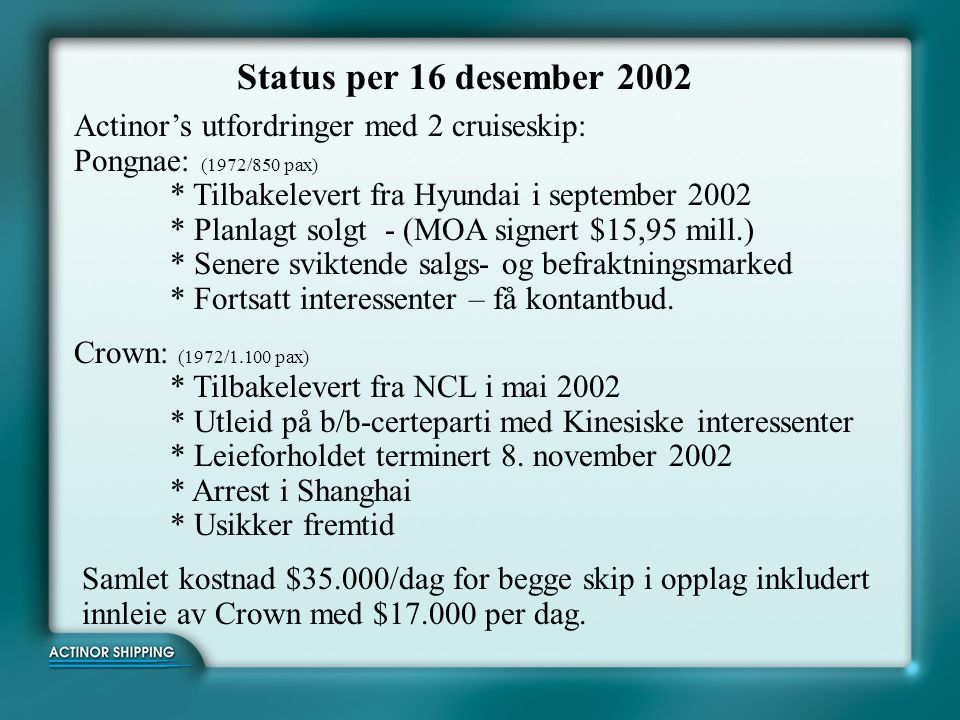 Status per 16 desember 2002
