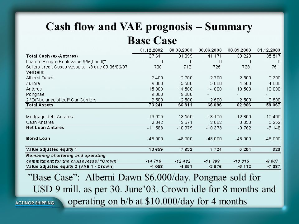 Cash flow and VAE prognosis – Summary Base Case
