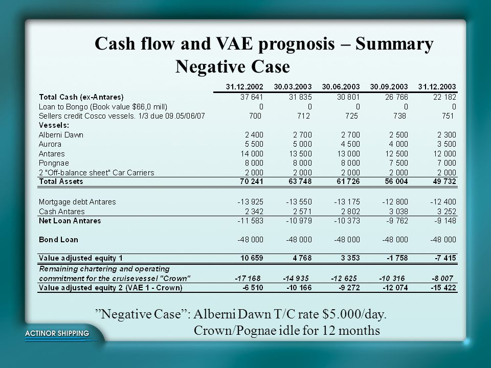 Cash flow and VAE prognosis – Summary Negative Case
