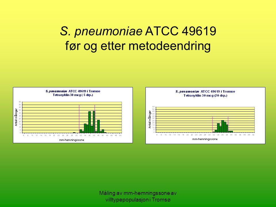 S. pneumoniae ATCC 49619 før og etter metodeendring