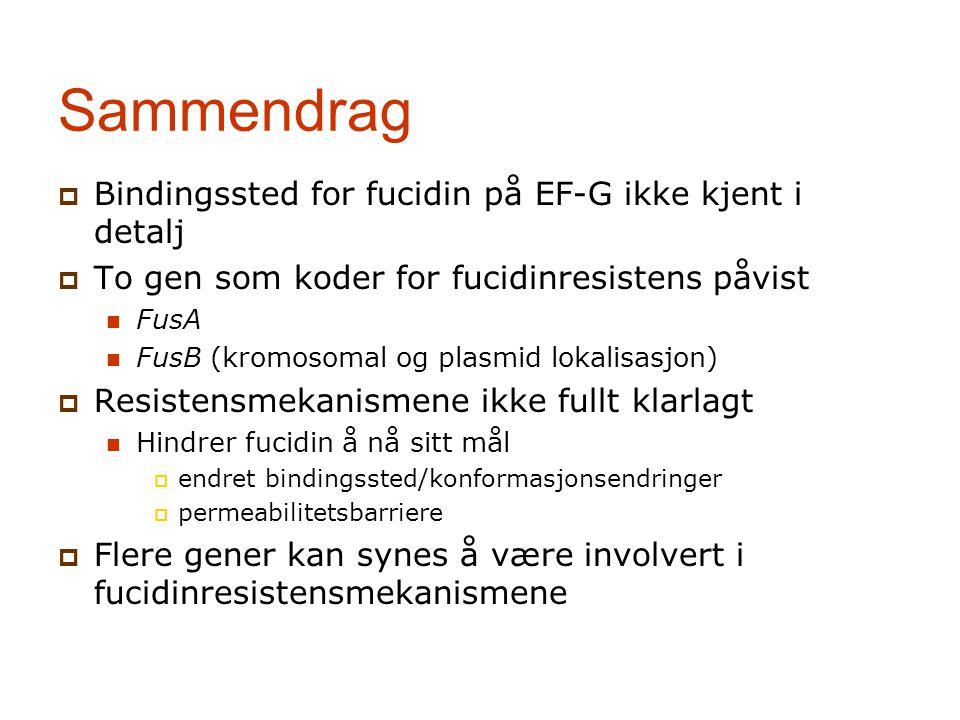 Sammendrag Bindingssted for fucidin på EF-G ikke kjent i detalj