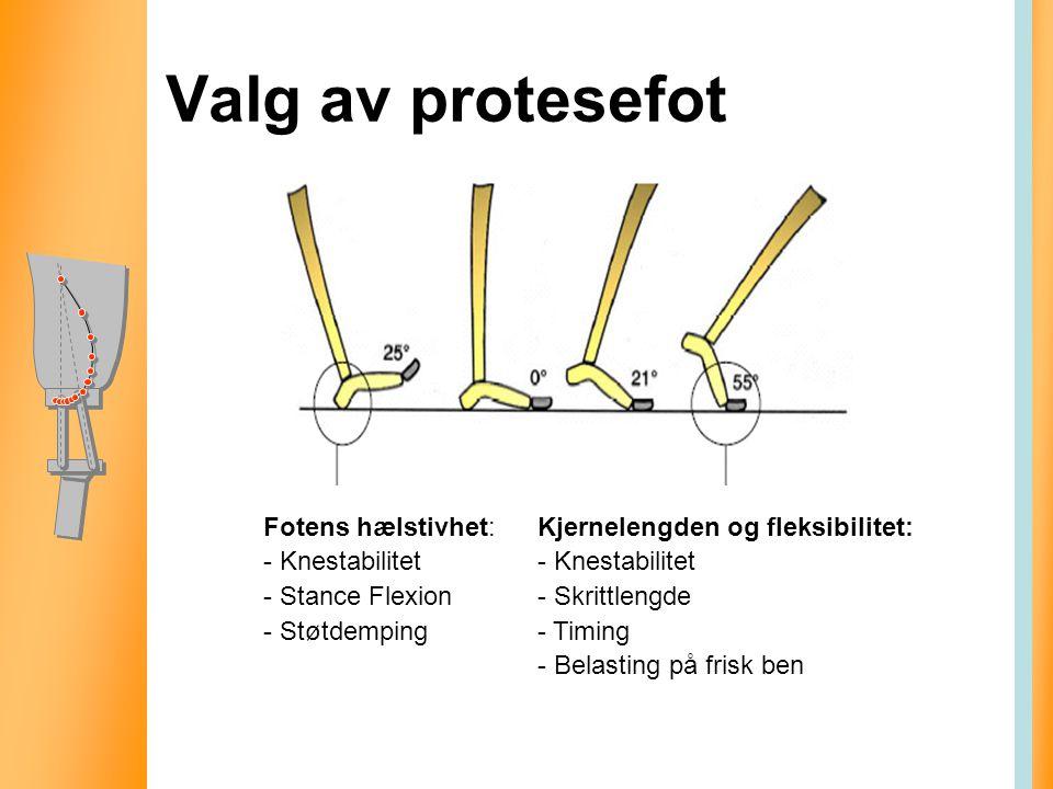 Valg av protesefot Fotens hælstivhet: Knestabilitet Stance Flexion