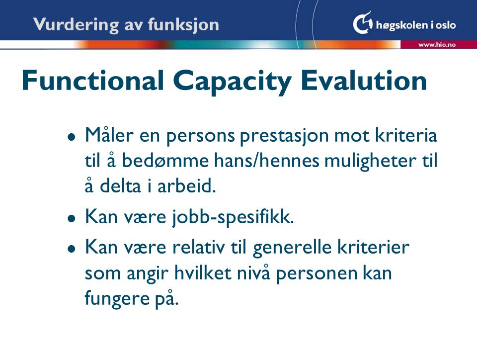 Functional Capacity Evalution