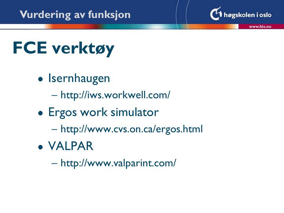 FCE verktøy Isernhaugen Ergos work simulator VALPAR