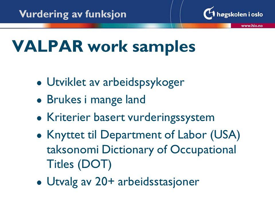 VALPAR work samples Utviklet av arbeidspsykoger Brukes i mange land