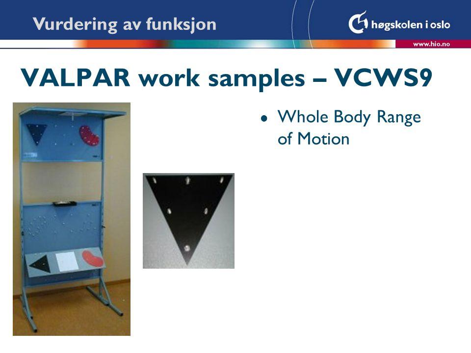 VALPAR work samples – VCWS9