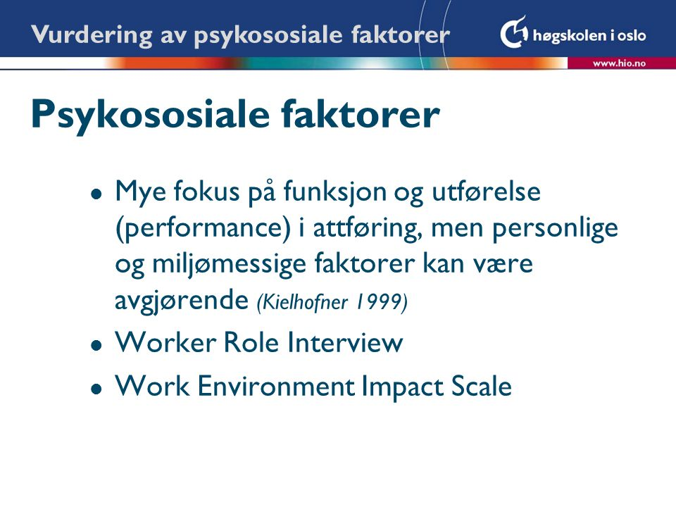 Psykososiale faktorer
