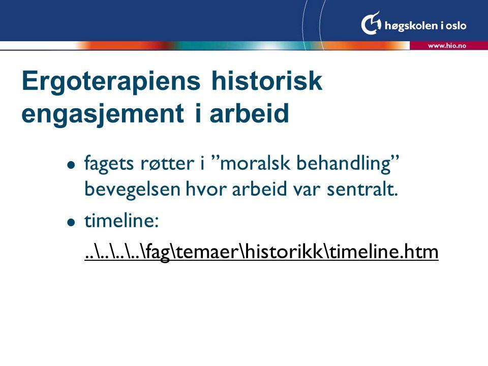 Ergoterapiens historisk engasjement i arbeid