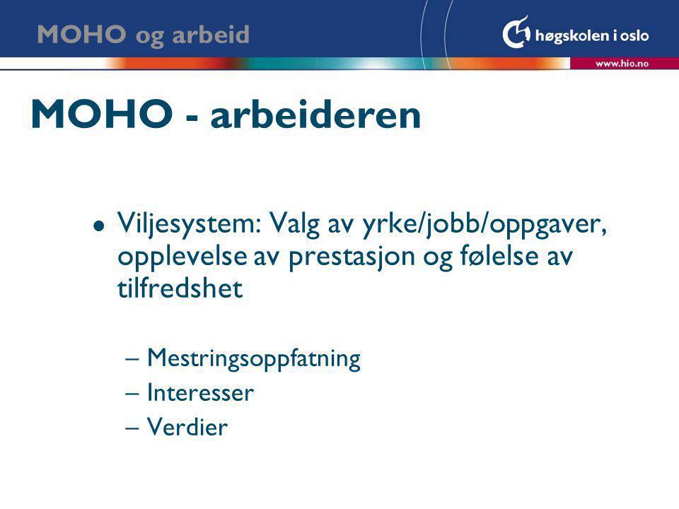 MOHO og arbeid MOHO - arbeideren. Viljesystem: Valg av yrke/jobb/oppgaver, opplevelse av prestasjon og følelse av tilfredshet.