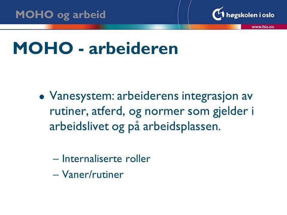 MOHO og arbeid MOHO - arbeideren. Vanesystem: arbeiderens integrasjon av rutiner, atferd, og normer som gjelder i arbeidslivet og på arbeidsplassen.