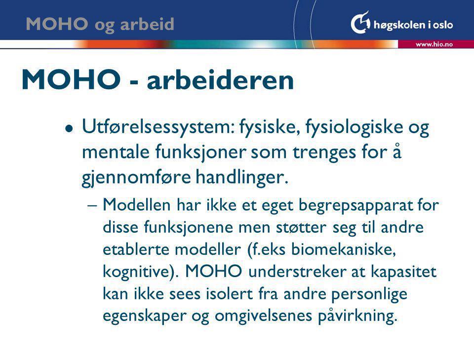 MOHO og arbeid MOHO - arbeideren. Utførelsessystem: fysiske, fysiologiske og mentale funksjoner som trenges for å gjennomføre handlinger.