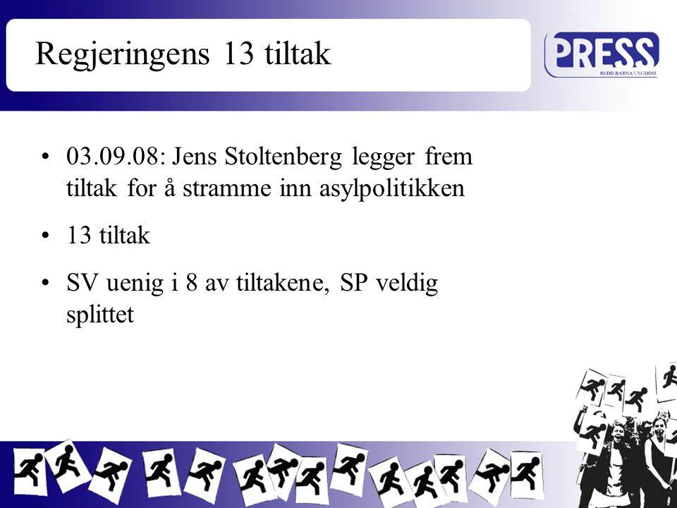 Regjeringens 13 tiltak 03.09.08: Jens Stoltenberg legger frem tiltak for å stramme inn asylpolitikken.