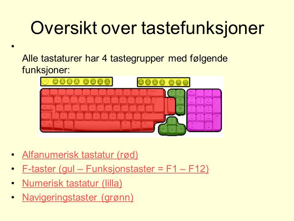 Oversikt over tastefunksjoner