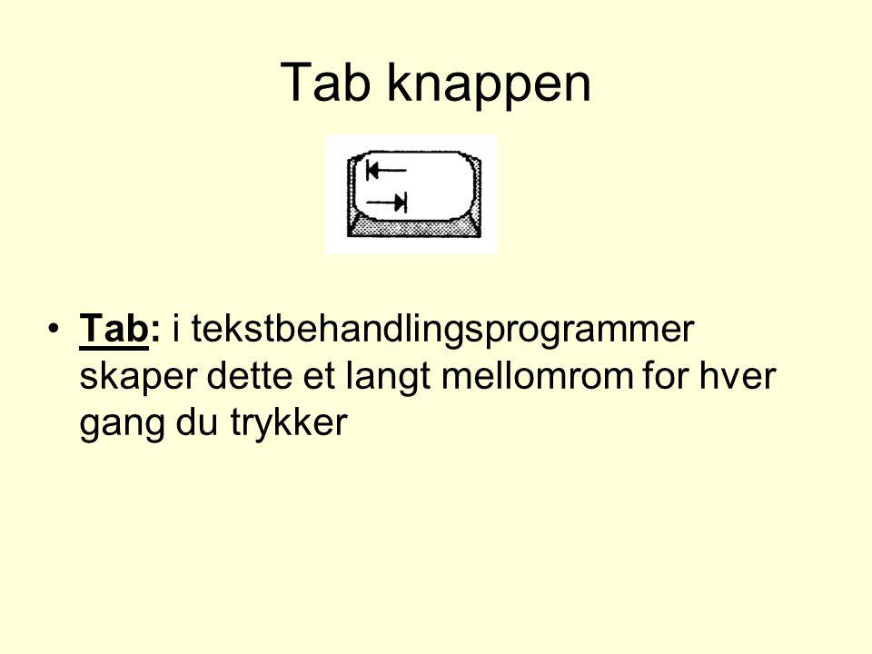Tab knappen Tab: i tekstbehandlingsprogrammer skaper dette et langt mellomrom for hver gang du trykker.