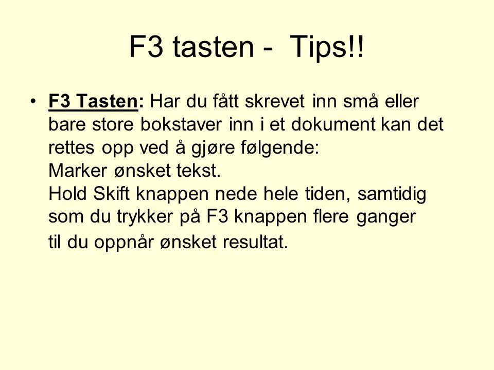 F3 tasten - Tips!!