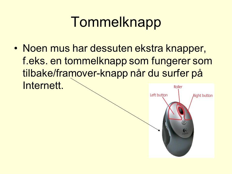 Tommelknapp Noen mus har dessuten ekstra knapper, f.eks.