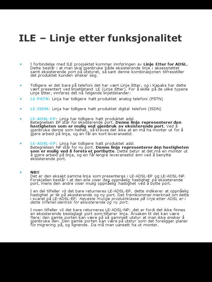 ILE – Linje etter funksjonalitet