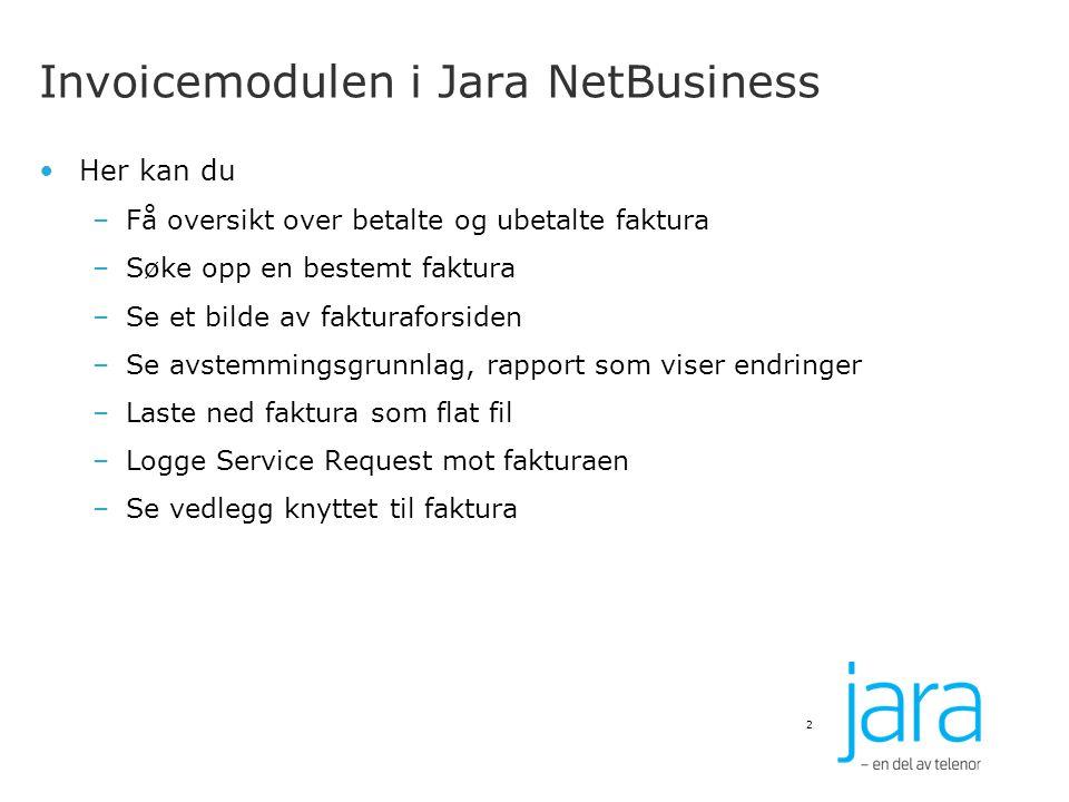 Invoicemodulen i Jara NetBusiness
