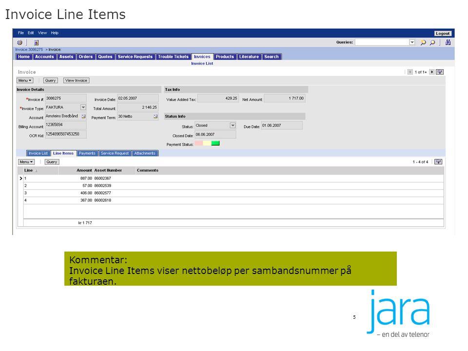 Invoice Line Items Kommentar: Invoice Line Items viser nettobeløp per sambandsnummer på fakturaen.