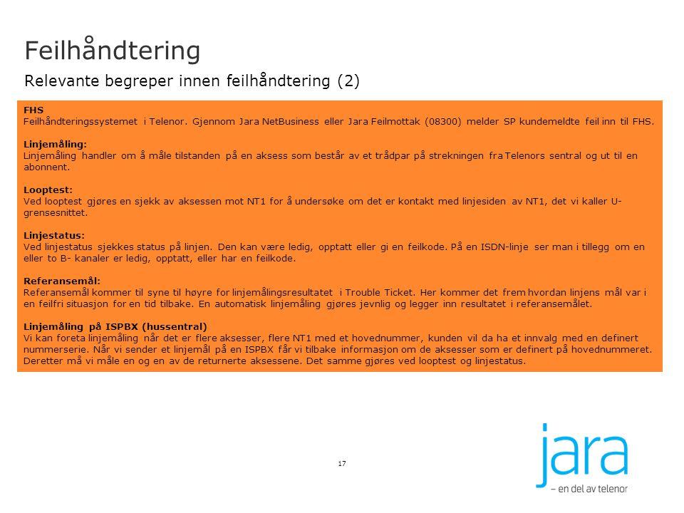 Feilhåndtering Relevante begreper innen feilhåndtering (2)