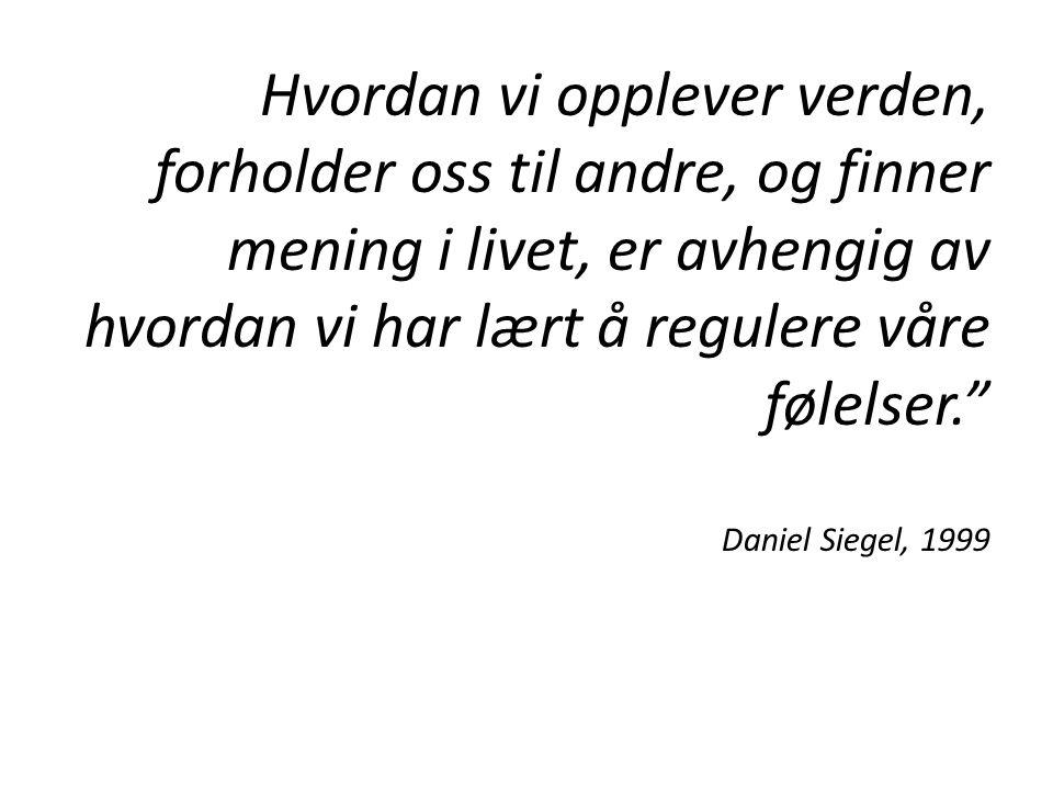 Hvordan vi opplever verden, forholder oss til andre, og finner mening i livet, er avhengig av hvordan vi har lært å regulere våre følelser. Daniel Siegel, 1999