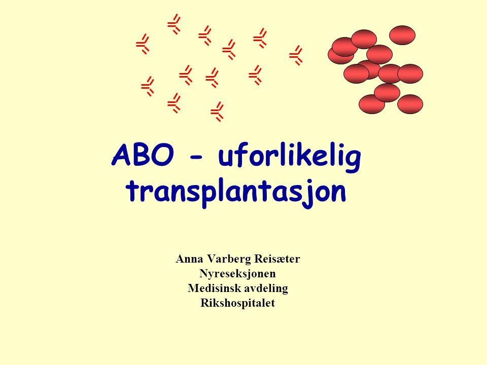 ABO - uforlikelig transplantasjon