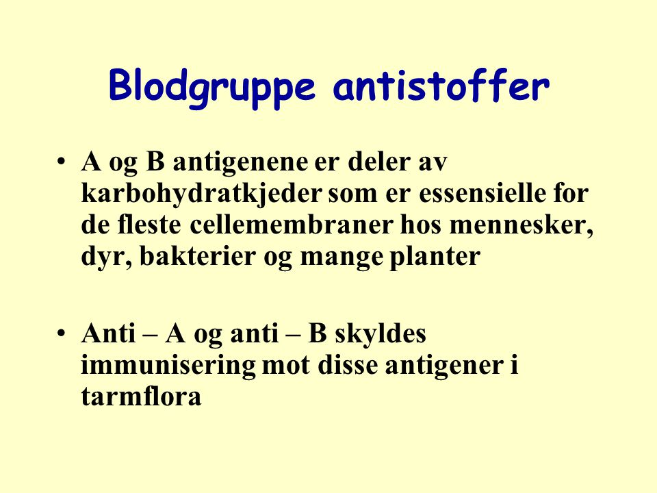 Blodgruppe antistoffer