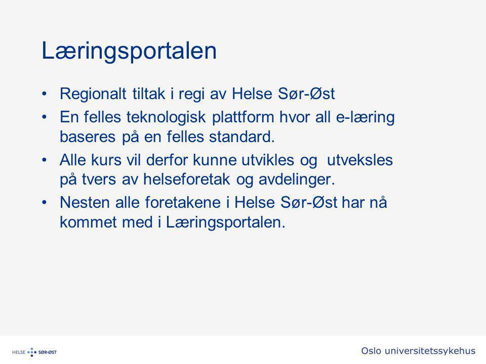 Læringsportalen Regionalt tiltak i regi av Helse Sør-Øst