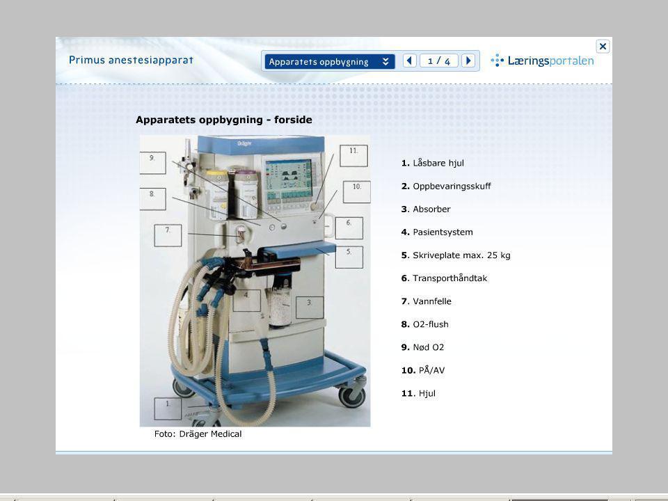 Dette er et bilde fra kurset primus anestesiapparat og er ment som et suppliment til prosedyren for apparatet.