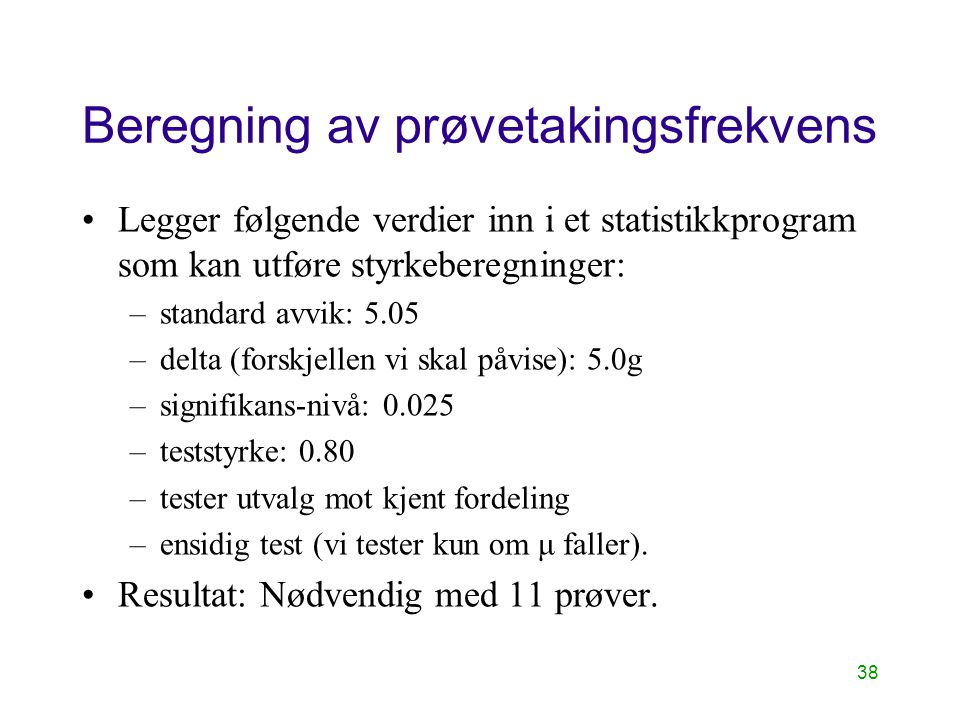 Beregning av prøvetakingsfrekvens