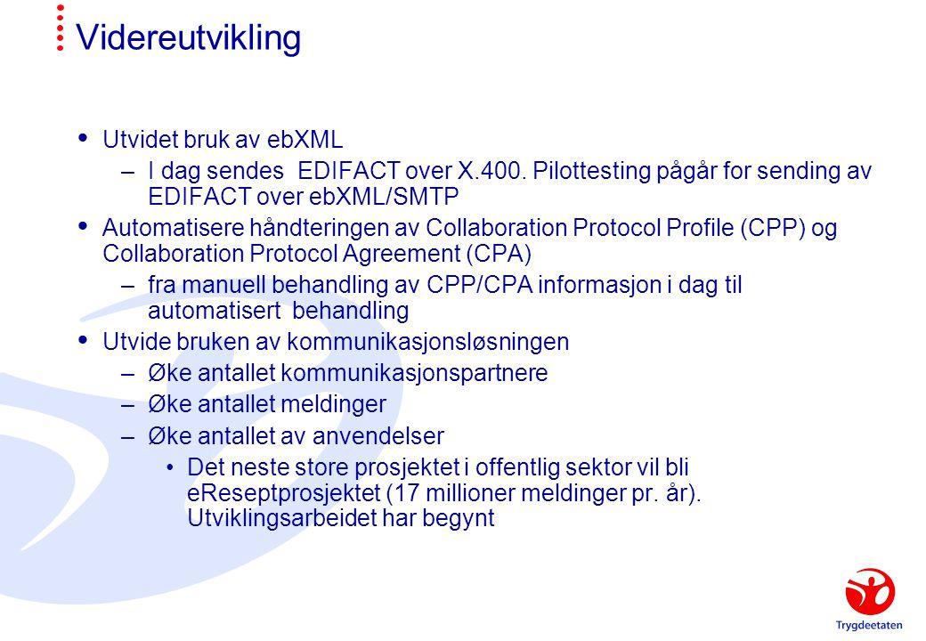 Videreutvikling Utvidet bruk av ebXML