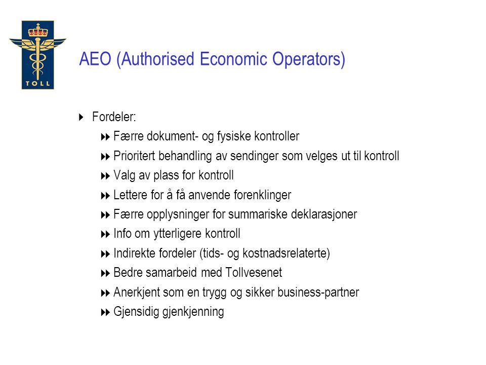 AEO (Authorised Economic Operators)