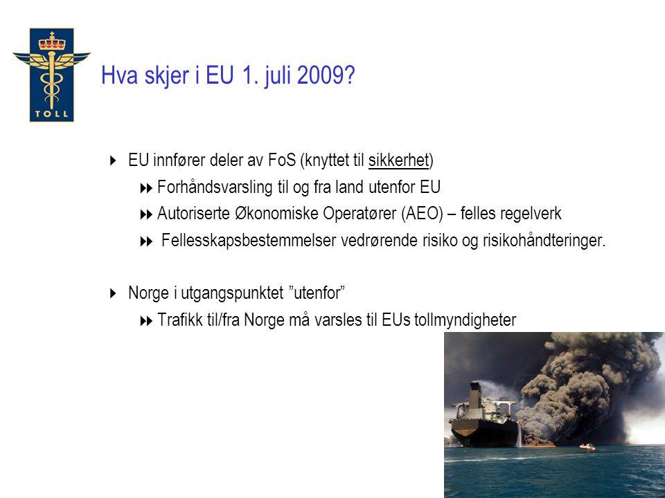 Hva skjer i EU 1. juli 2009 EU innfører deler av FoS (knyttet til sikkerhet) Forhåndsvarsling til og fra land utenfor EU.