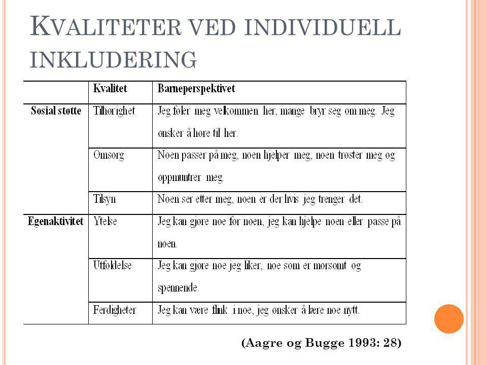 Kvaliteter ved individuell inkludering