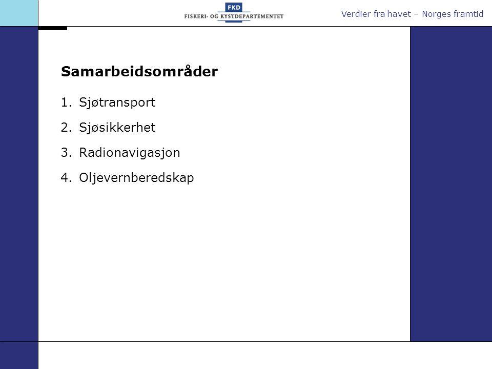 Samarbeidsområder Sjøtransport Sjøsikkerhet Radionavigasjon