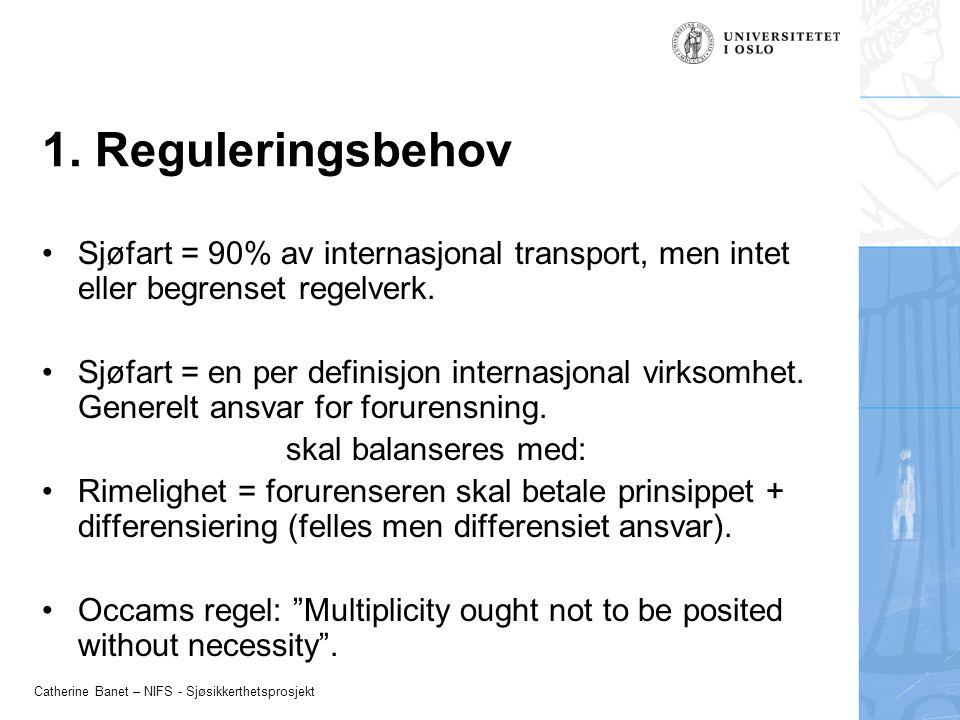 1. Reguleringsbehov Sjøfart = 90% av internasjonal transport, men intet eller begrenset regelverk.