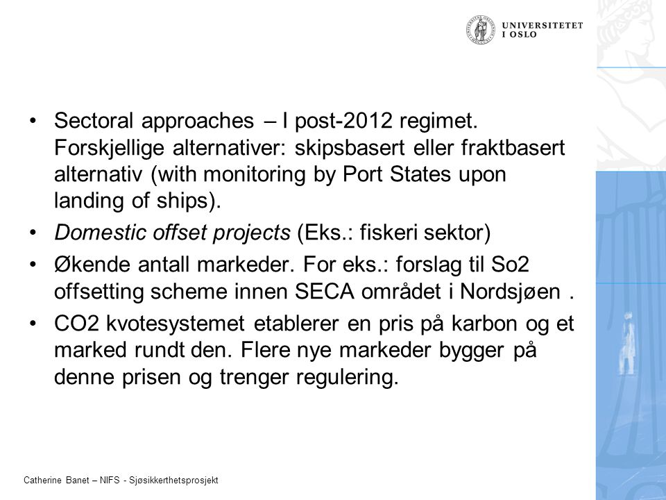 Sectoral approaches – I post-2012 regimet