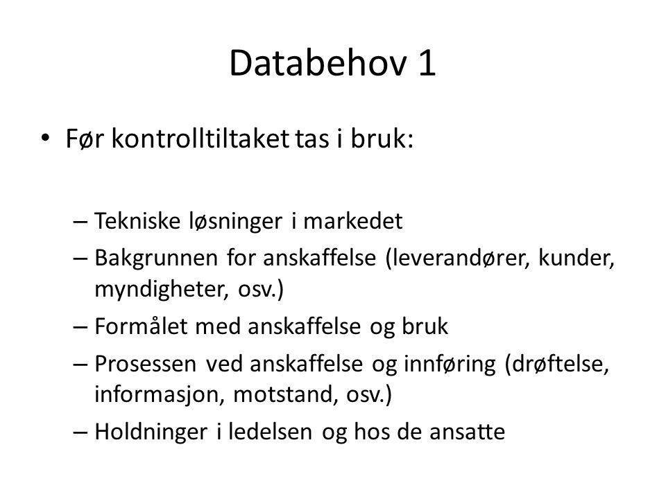 Databehov 1 Før kontrolltiltaket tas i bruk: