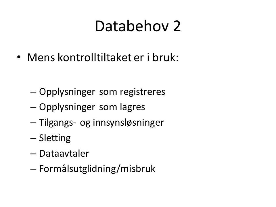 Databehov 2 Mens kontrolltiltaket er i bruk: