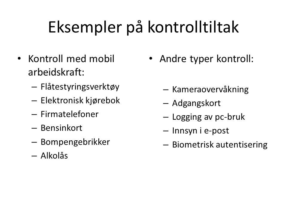 Eksempler på kontrolltiltak