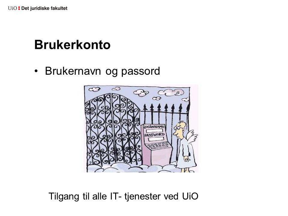 Brukerkonto Brukernavn og passord