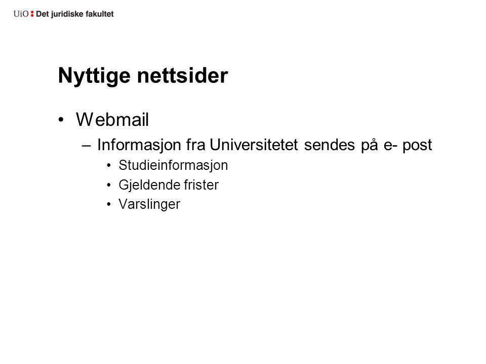 Nyttige nettsider Webmail