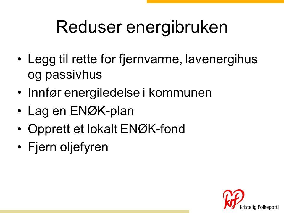 Reduser energibruken Legg til rette for fjernvarme, lavenergihus og passivhus. Innfør energiledelse i kommunen.