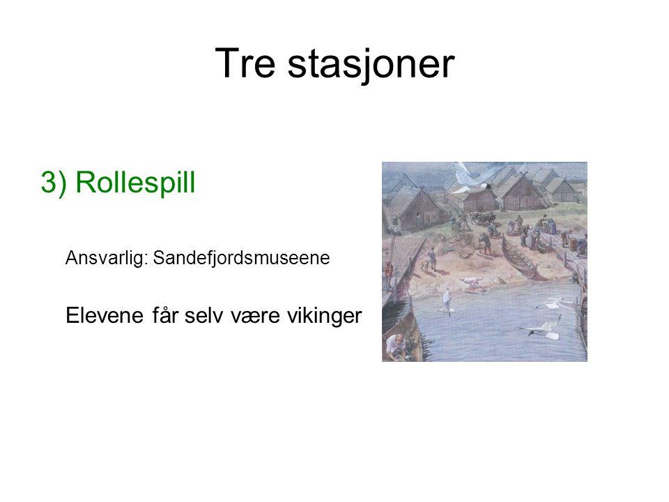 Tre stasjoner 3) Rollespill Ansvarlig: Sandefjordsmuseene